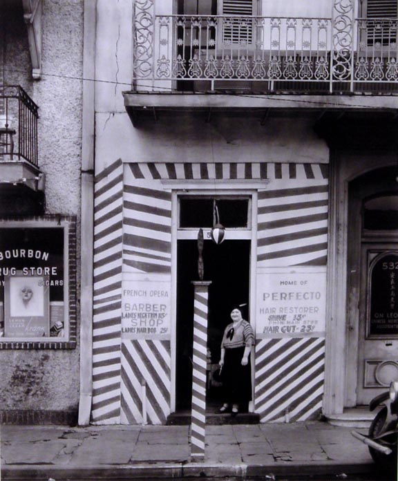 Painted Doorway of French Opera Barber Shop on Bourbon Street New Orleans Louisiana