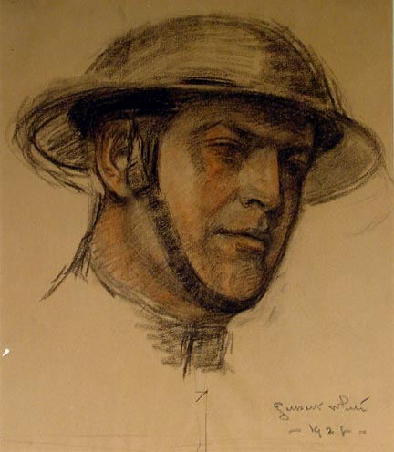 head of WWI soldier (central panel)