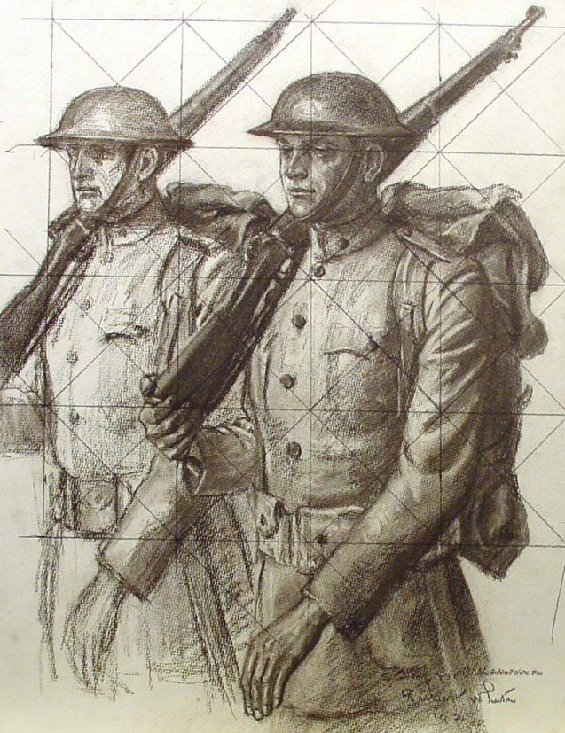 WWI soldiers left panels