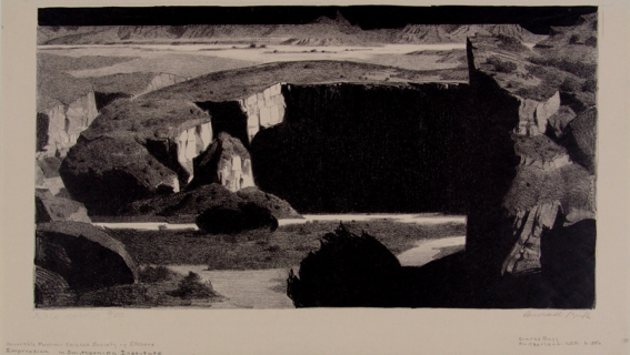 "Conrad Buff, ""Black Canyon,"" Lithograph, ca. 1931. We peer into Black Canyon's inky shadows from a high vantage point. Swiss-born artist and illustrator Conrad Buff often depicted northern Arizona and southern Utah's remote canyons and high bluffs from an aerial perspective to emphasize the landscapes' dramatic forms. Buff made the first of many trips into southern Utah with his wife, Mary, in 1923, exploring difficult-to-reach canyons and mesas by Model T. Their travels inspired Buff's lithographs of the region and ""Dancing Cloud, the Navajo Boy"" (Viking, 1937), the first of 14 children's books written and illustrated by the couple."