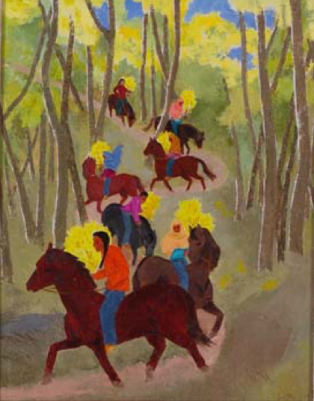 "Barbara Latham, ""Gathering Aspens for San Geronimo Day,"" oil on canvas, n.d. L2007.00141 [Philbrook loan] In this vibrant painting, riders collect boughs of golden aspen for Taos Pueblo's annual harvest celebration and mass honoring St. Jerome, its patron saint. An adventurous world traveler, Barbara Latham graduated from Pratt Institute in 1919 and embarked on a career in art and illustration. In 1925, she followed Andrew Dasburg, her instructor at the New York Art Students League, west, arriving in Taos just before the feast day in late September. In Taos, Latham met and married Howard Cook, a fellow printmaker and former student of Dasburg. They lived in New York and abroad before settling near Taos in 1939, where Latham painted whimsical New Mexican scenes and illustrated textbooks, magazines, and 17 children's books."
